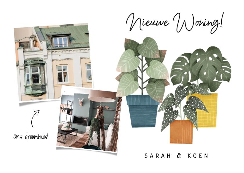 Verhuiskaarten - Hippe verhuiskaart nieuwe woning met planten en foto's