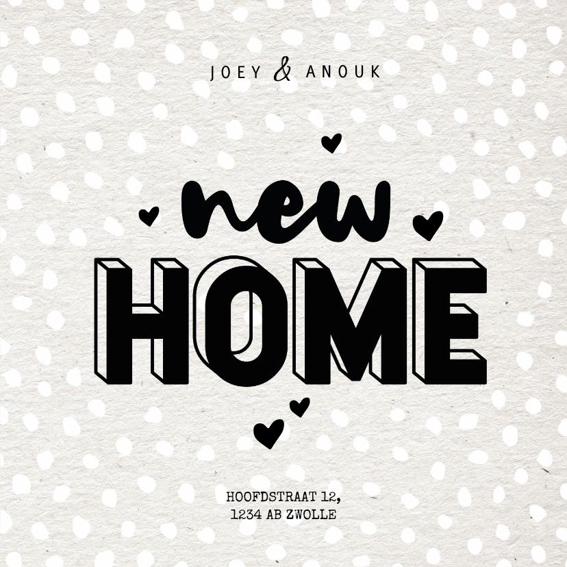 Verhuiskaarten - Hippe verhuiskaart typografie new home, kraft en hartjes