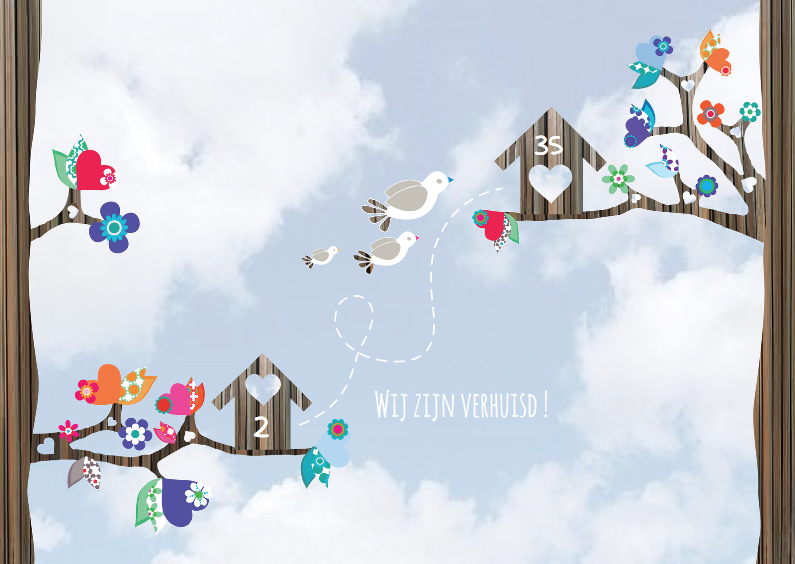 Verhuiskaarten - Hippe Verhuiskaart Vogel Lucht