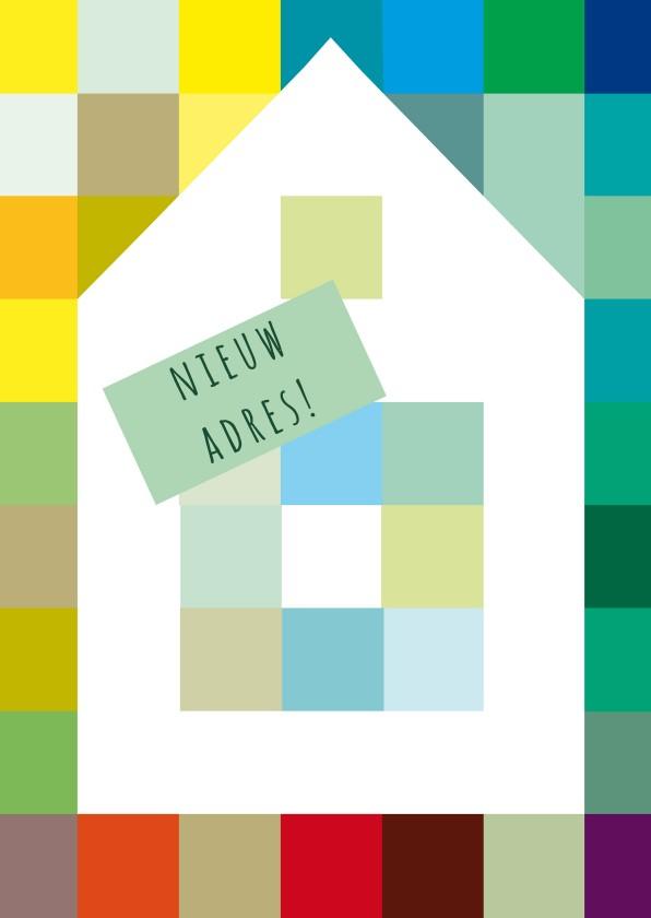 Verhuiskaarten - Huis op kleuren en eigen tekst