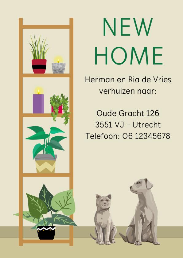 Verhuiskaarten - Leuk en vlot verhuisbericht met planten, hond en poes.