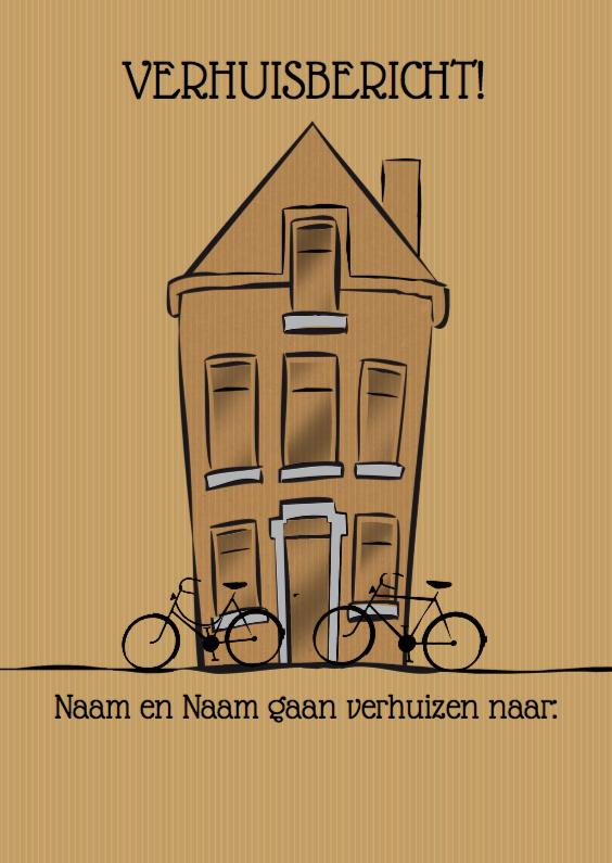 Verhuiskaarten - Leuke verhuiskaart pand en fietsen op pakpapier
