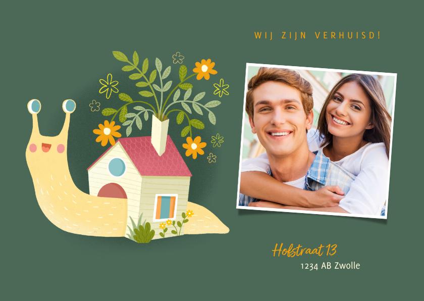 Verhuiskaarten - leuke verhuiskaart slak met huisje en foto
