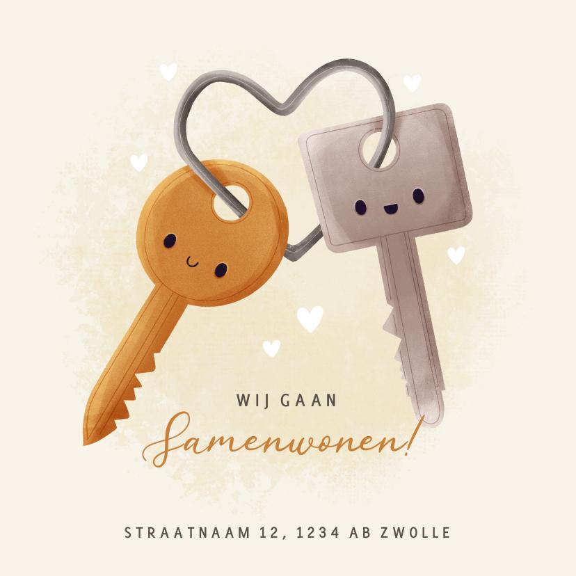 Verhuiskaarten - Lieve verhuiskaart samenwonen met sleutels en hartjes