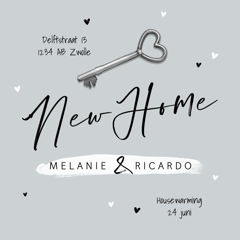 Verhuiskaarten - New home verhuiskaart samenwonen foto sleutel hartjes