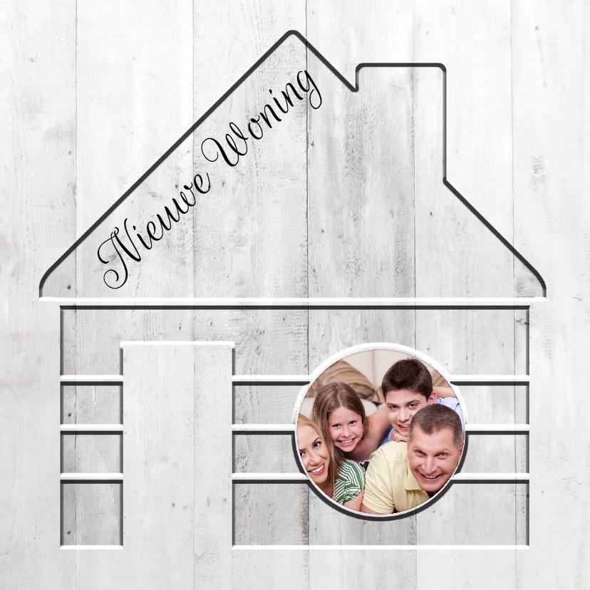 Verhuiskaarten - Nieuwe Woning in hout - BK