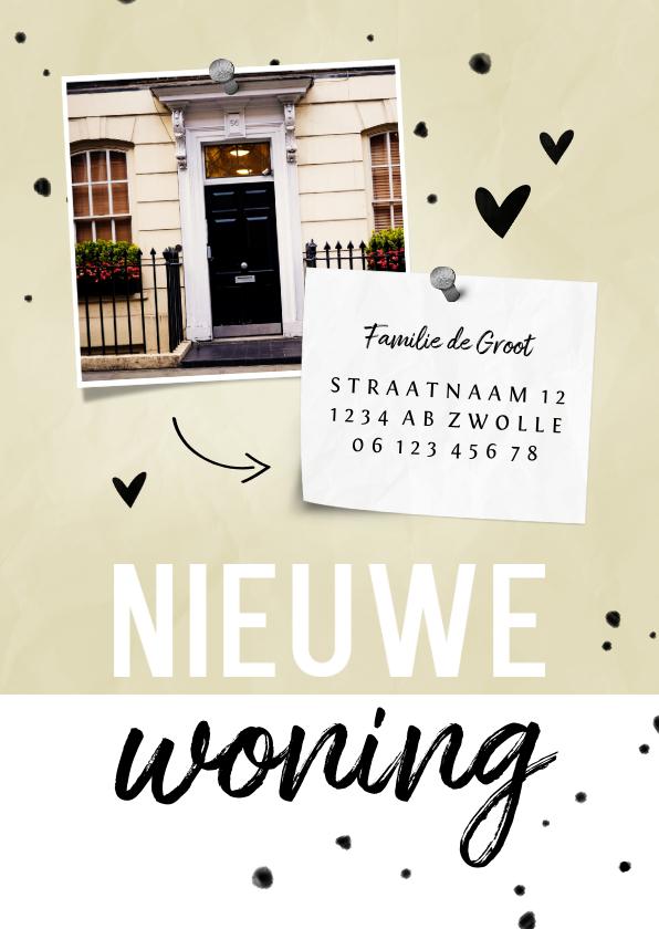 Verhuiskaarten - Nieuwe woning papierlook met foto en hartjes