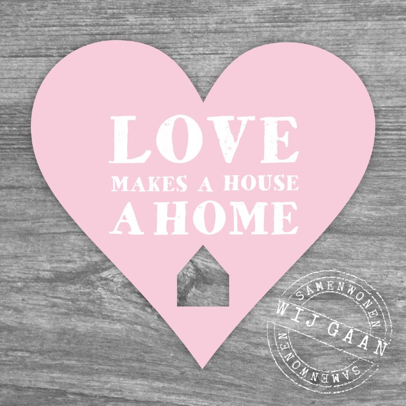 Verhuiskaarten - Samenwonen hout hart tekst