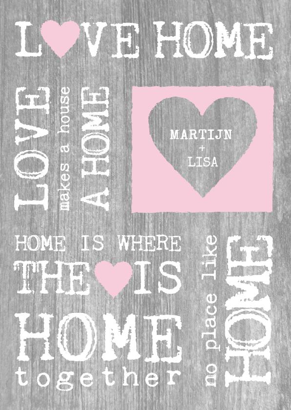 Verhuiskaarten - Samenwonen hout tekst hart