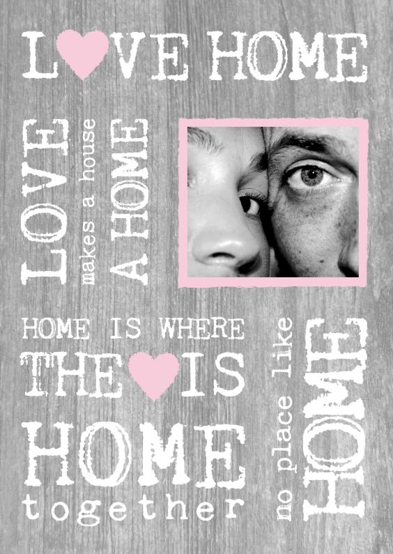 Verhuiskaarten - Samenwonen kaart hout tekst foto roze