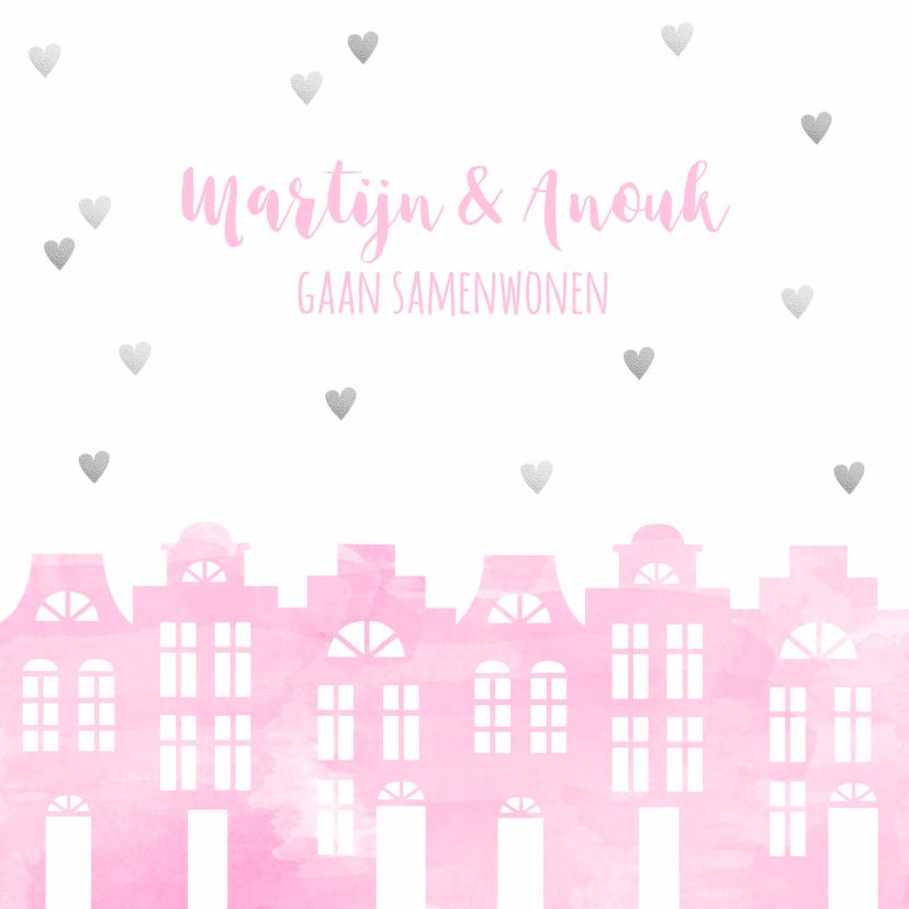 Verhuiskaarten - Samenwonen kaart huisjes roze aquarel en hartjes