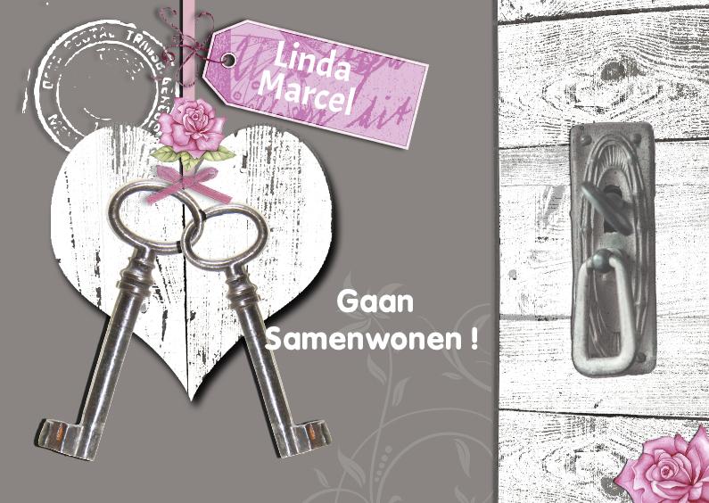 Verhuiskaarten - Samenwonen met houten hart en sleutels