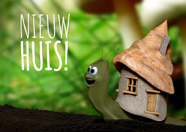 Verhuiskaarten - Slakje met nieuw huis verhuiskaart