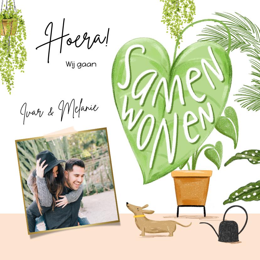 Verhuiskaarten - Toffe verhuiskaart samenwonen met botanische planten