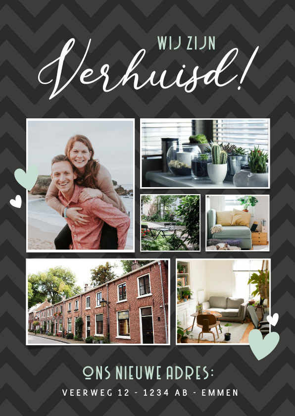 Verhuiskaarten - Verhuisbericht fotocollage met 6 foto's en nieuw adres