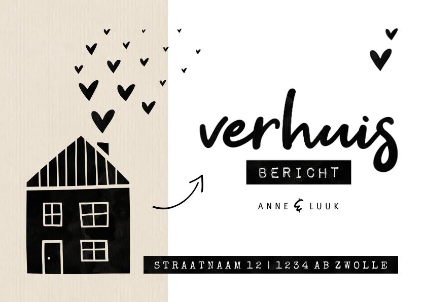 Verhuiskaarten - Verhuisbericht kraft huisje met hartjes