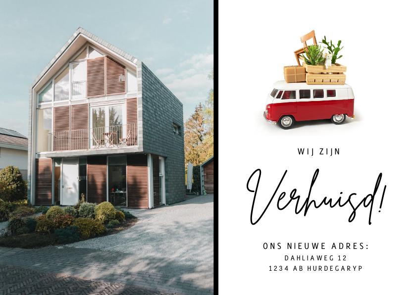 Verhuiskaarten - Verhuisbericht met Volkswagen busje en eigen foto