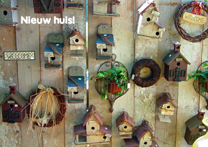 Verhuiskaarten - Verhuisbericht nieuw huis met vogelhuisjes op steigerhout