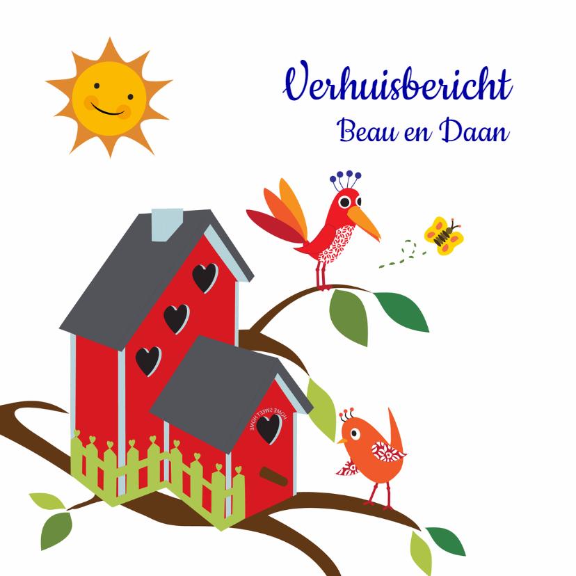 Verhuiskaarten - Verhuisbericht vogelhuisje