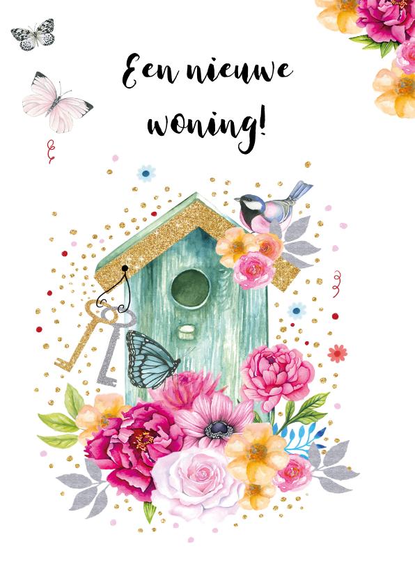 Verhuiskaarten - Verhuisd vogelhuis bloemen