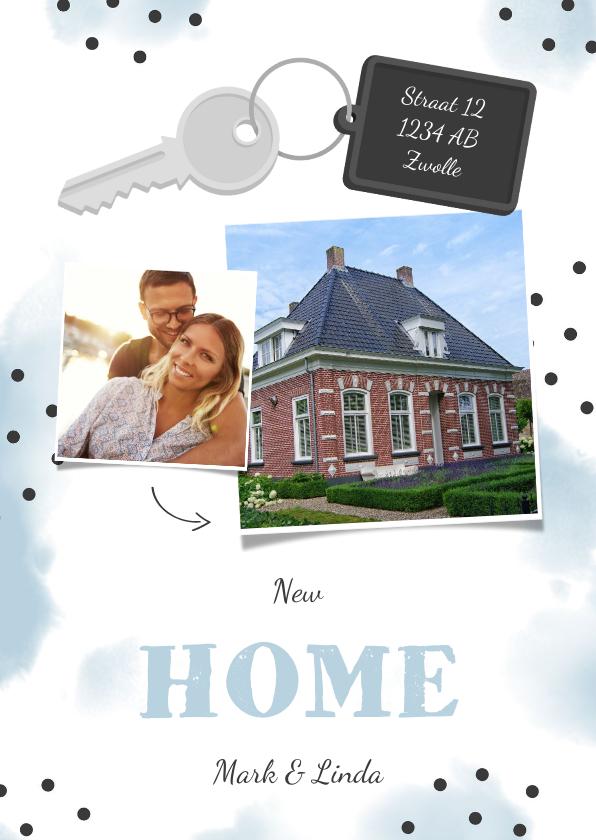 Verhuiskaarten - Verhuiskaart 2 foto's sleutel met label new home