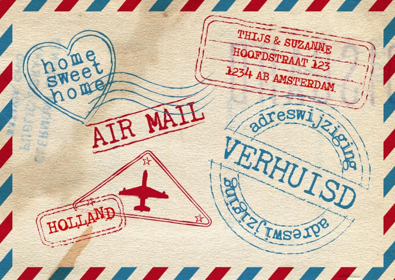 Verhuiskaarten - Verhuiskaart airmail stoer