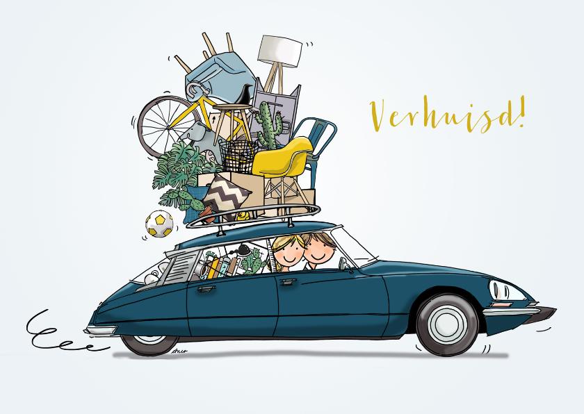Verhuiskaarten - Verhuiskaart Citroen DS blauwgroen