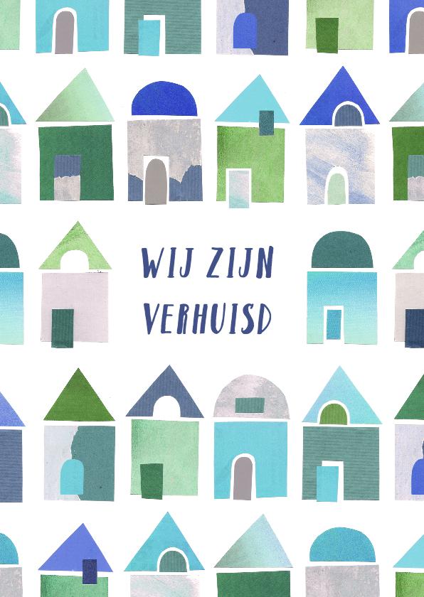 Verhuiskaarten - Verhuiskaart collage blauwe huisjes