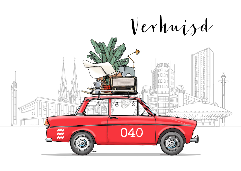 Verhuiskaarten - Verhuiskaart Daf met Eindhoven
