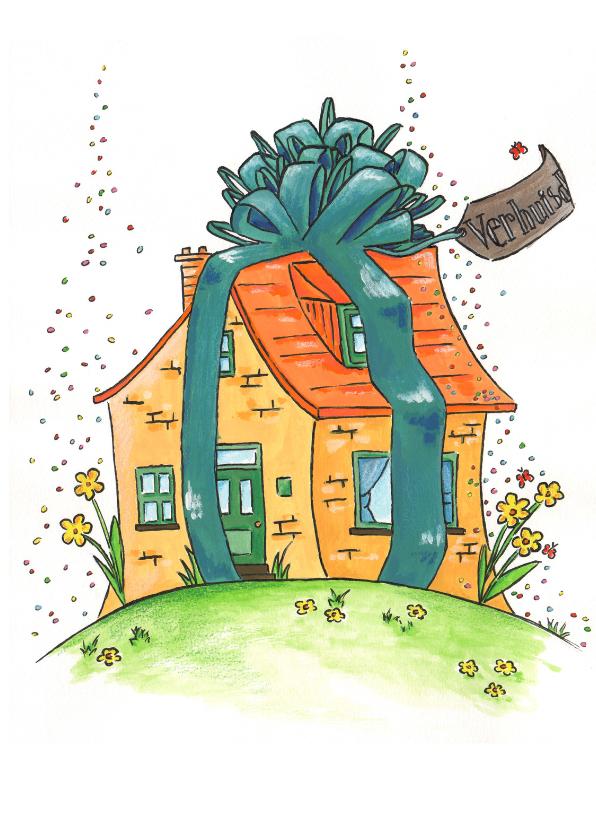 Verhuiskaarten - Verhuiskaart feestelijk huis met lint
