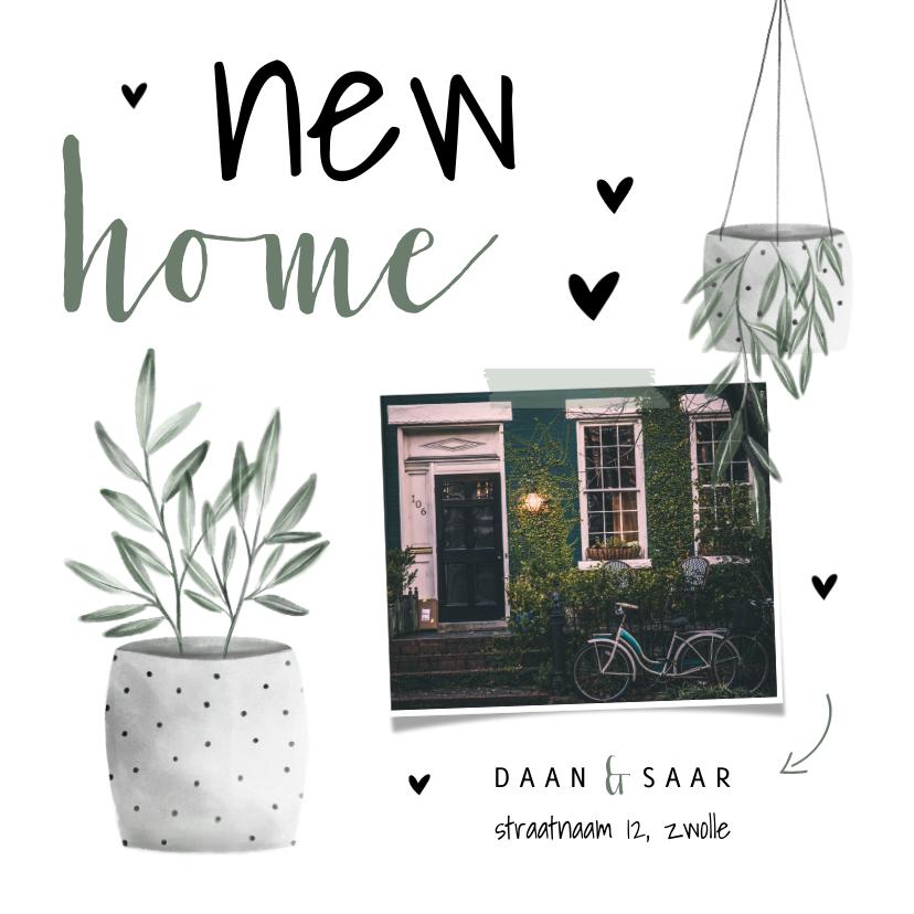 Verhuiskaarten - Verhuiskaart foto new home met hartjes en planten