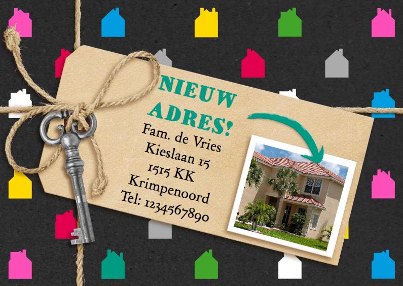 Verhuiskaarten - Verhuiskaart gekleurde huisjes met foto van het nieuwe huis