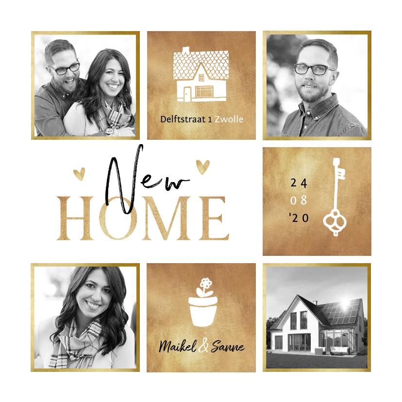 Verhuiskaarten - Verhuiskaart goud fotocollage hartjes huis sleutel plant