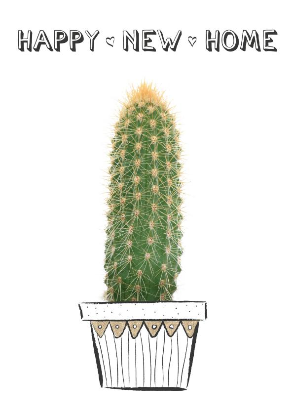 Verhuiskaarten - Verhuiskaart happy new home met cactus plant