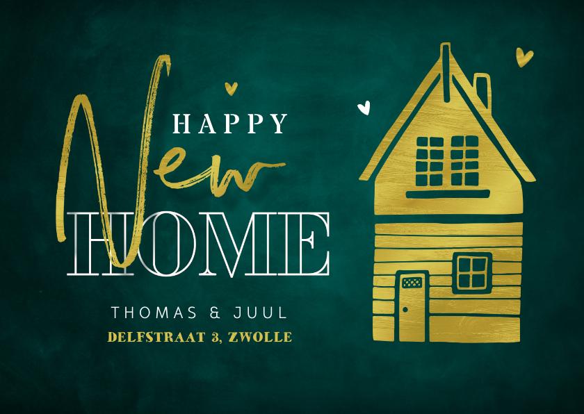 Verhuiskaarten - Verhuiskaart happy new home stijlvol goud groen huisje