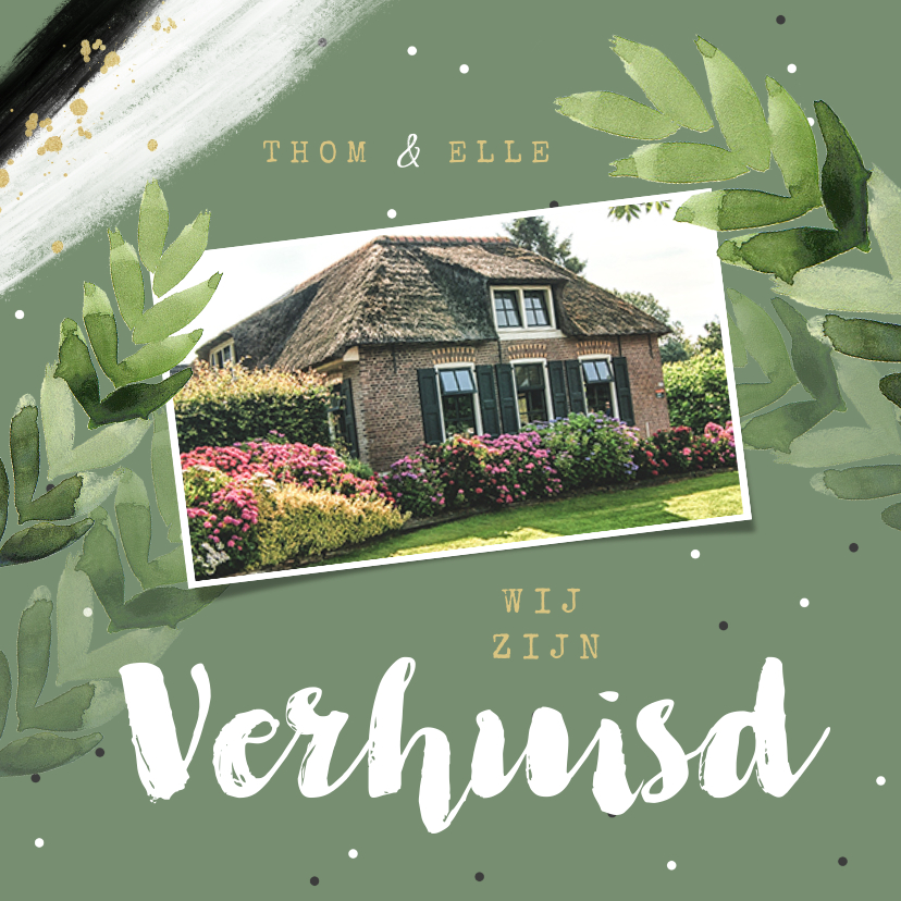 Verhuiskaarten - Verhuiskaart hip botanisch groen bladeren confetti foto