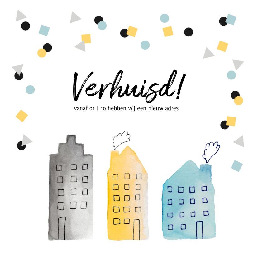 Verhuiskaarten - Verhuiskaart hip confetti huisjes