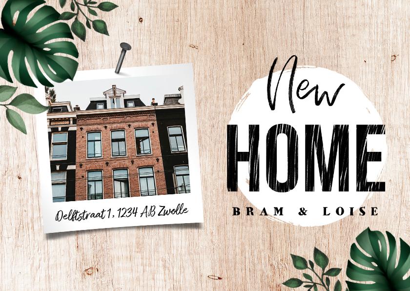 Verhuiskaarten - Verhuiskaart houtlook botanisch met foto