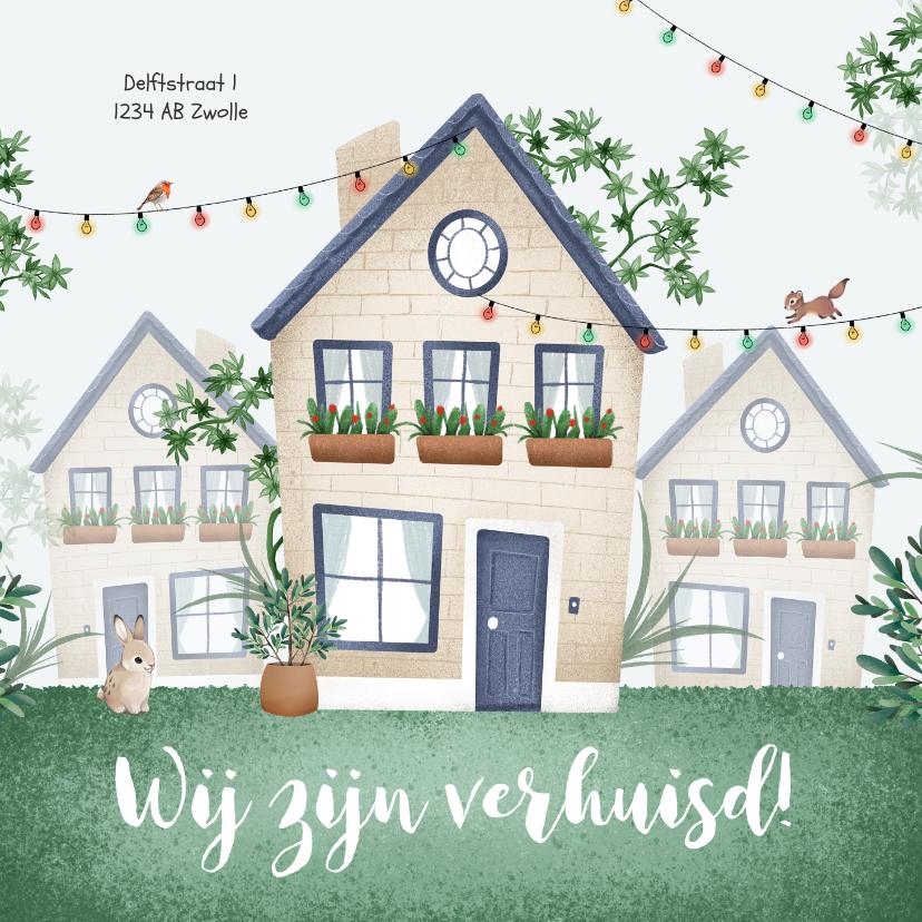 Verhuiskaarten - Verhuiskaart huis illustratie feest dieren planten