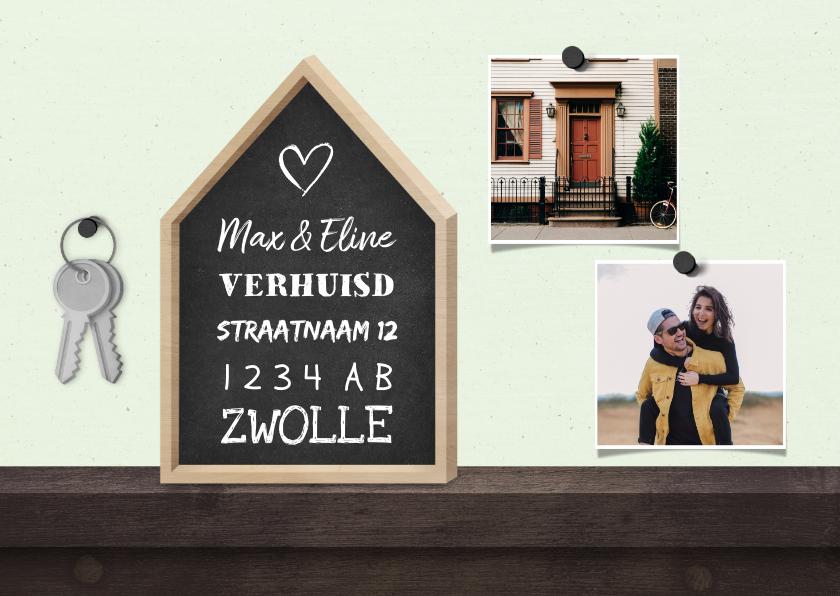 Verhuiskaarten - Verhuiskaart krijtbord huis 2 foto's met sleutelbos