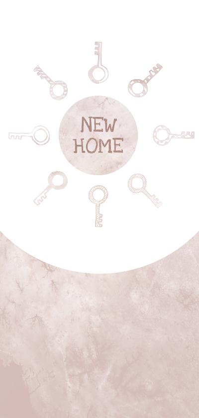 Verhuiskaarten - Verhuiskaart langwerpig  marble roze met sleutels