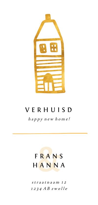 Verhuiskaarten - Verhuiskaart langwerpig met gouden huisje