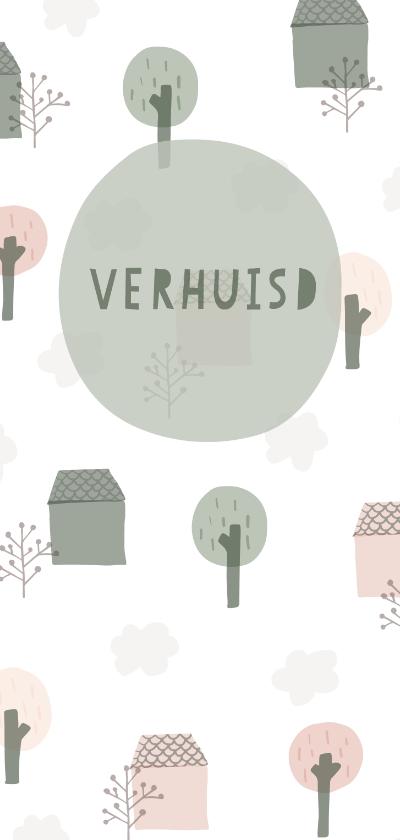 Verhuiskaarten - Verhuiskaart langwerpig met huisjes, bomen en wolken