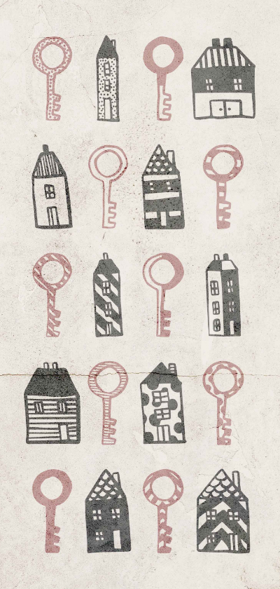 Verhuiskaarten - Verhuiskaart langwerpig met huisjes en sleutels