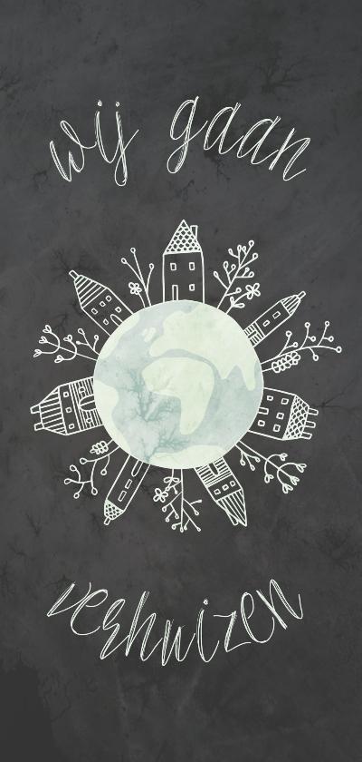 Verhuiskaarten - Verhuiskaart langwerpig met wereldbol en huizen
