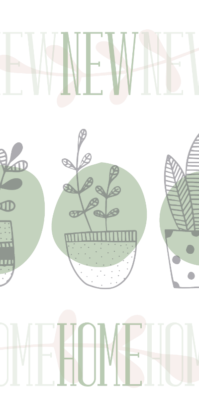 Verhuiskaarten - Verhuiskaart langwerpig 'NEW HOME' botanische stijl