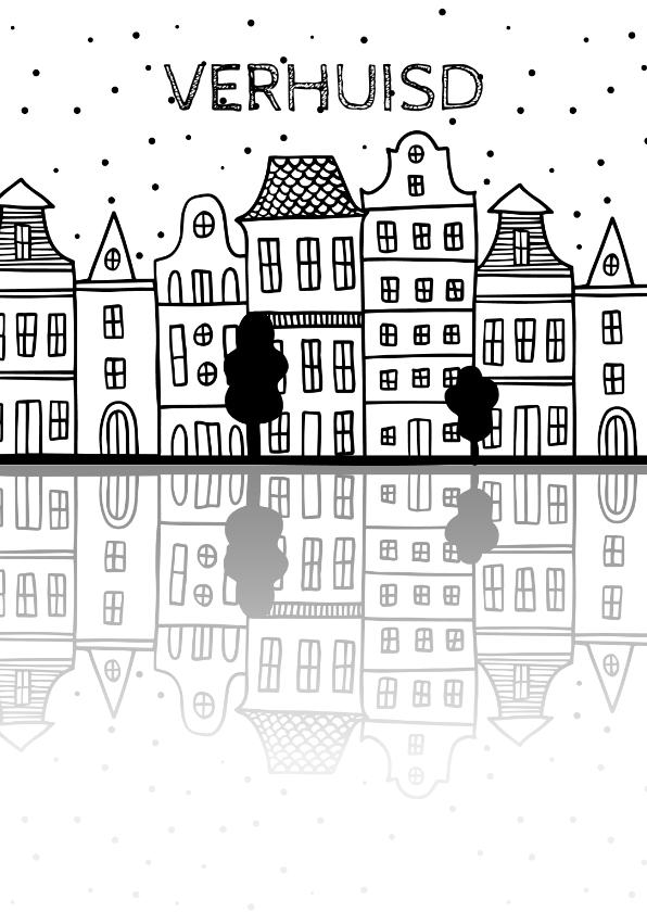Verhuiskaarten - Verhuiskaart met Amsterdamse huisjes en reflectie