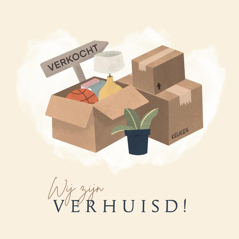 Verhuiskaarten - Verhuiskaart met dozen en plant