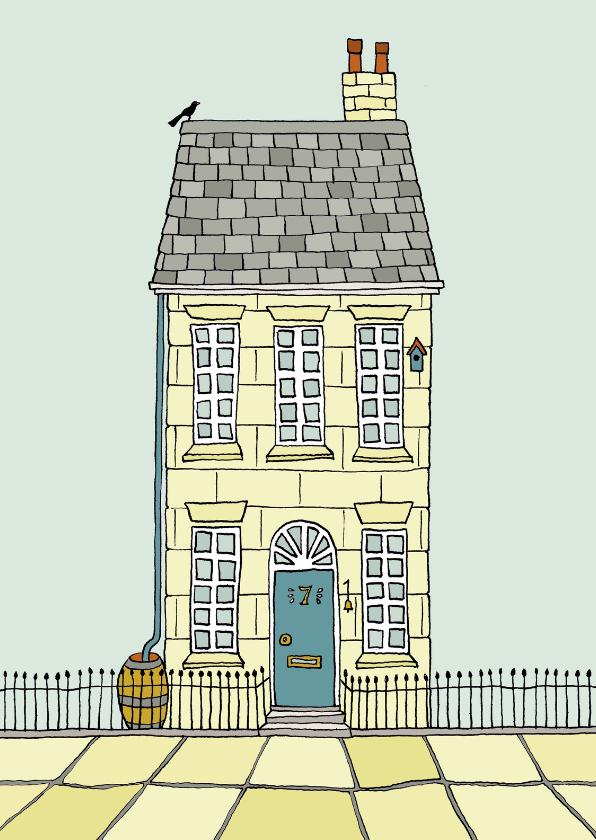 Verhuiskaarten - Verhuiskaart met een huis van zandsteen