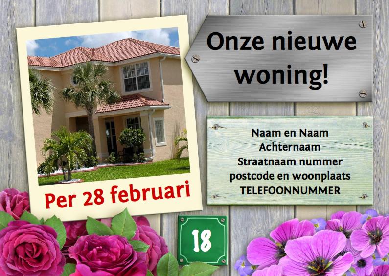 Verhuiskaarten - Verhuiskaart met foto van het nieuwe huis op steigerhout
